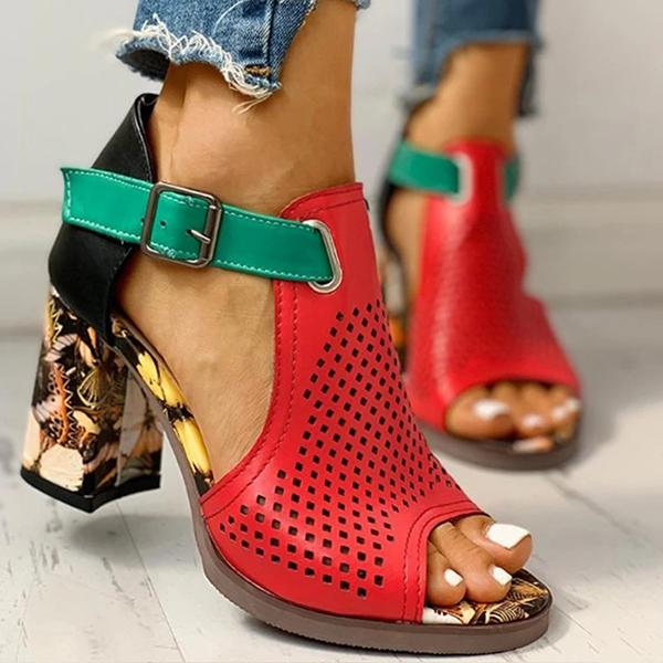Shoedoes Women Colorblock Hollow Out Chunky Heeled Sandals