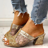 Shoedoes Sequins Mesh Chunky Heeled Sandals