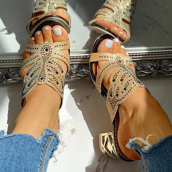 Shoedoes Studded Cut Out Design Chunky Heeled Sandals