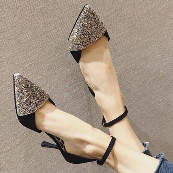 Shoedoes Suede Glitter Sequin Pointed Toe Heels
