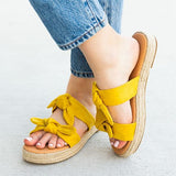 Shoedoes Daily Casual Double Bow Espadrille Slippers
