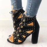 Shoedoes Eyelet Lace-Up Strappy Chunky Heeled Sandals