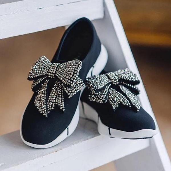 Shoedoes Fashion Women Rhinestone Bow Breathable Sneakers