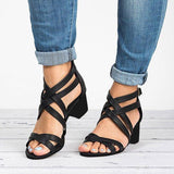Shoedoes Women Fashion Heeled Zipper Sandals