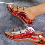 Shoedoes Women Large Size Rivet Transparent Wedge Slippers