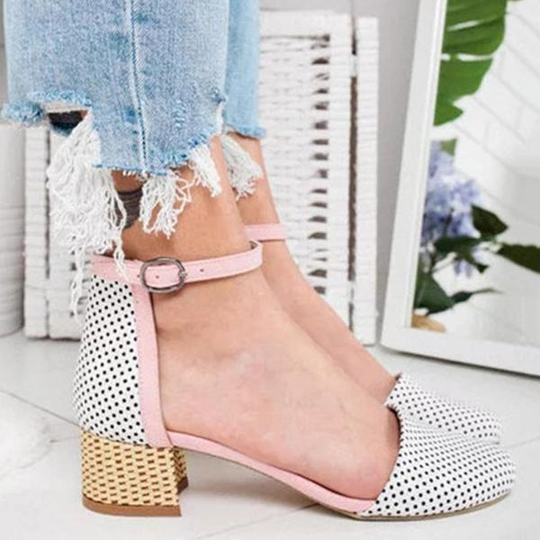 Shoedoes Girly Sweet Color Block Hollow Ankle-Strap Sandals
