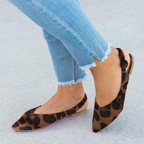 Shoedoes Pointy Toe Solig Leopard Print Sandals