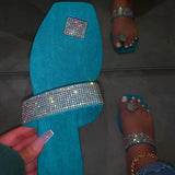 Shoedoes Women Square Toe Rhinestone Slippers
