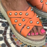 Shoedoes Pi Clue Summer Artificial Leather Slippers