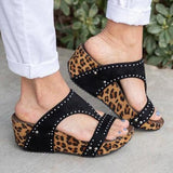 Shoedoes Rhinestone Chic Leopard Hollow Wedges Mule Sandals