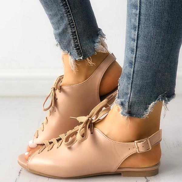 Shoedoes Solid Lace-up Buckled Slingbacks Flat Sandals