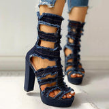 Shoedoes Ladder Cut Out Platform Chunky Heeled Sandals
