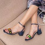 Shoedoes Women's Summer Flowers Chunky Heel Sandals