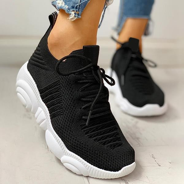 Shoedoes Non-Slip Knitted Breathable Lace-Up Yeezy Sneakers