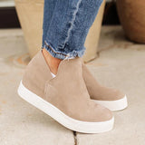 Shoedoes Women Taupe High Top Sneakers