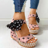 Shoedoes Dot Bowknot Design Platform Wedge Sandals
