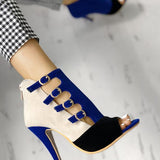 Shoedoes Fashion Stylish Suede Peep Toe Heels ( Ship In 24 Hours )