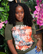 Grace Takes Me Places Hustling Can't 2.0 | VINTAGE GREEN T-SHIRT