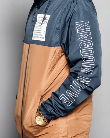 Reign On Me Jacket- Navy/Tan