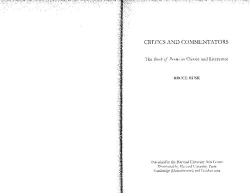 Critics and Commentators: The Book of Poems as Classic and Literature