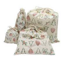 Load image into Gallery viewer, REUSABLE GIFT WRAP BAG SETS (ORGANIC COTTON)