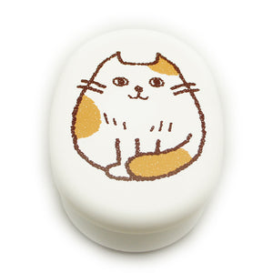 Lunch Box Cat Oval White Osumashi