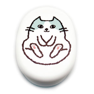 Lunch Box Cat Oval White Kamatte
