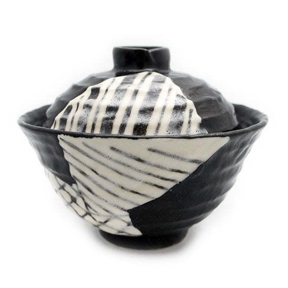 Medium Bowl with Lid Black Oribe Rokurome