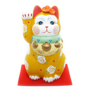 Cat Ornament Miyabi Shoufuku Yellow Medium