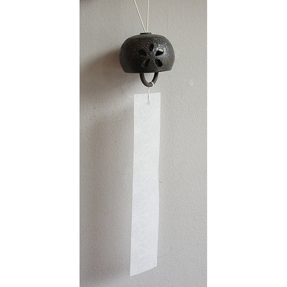 Ceramic Wind Chime Sukashi Hanamaru Black