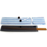 Chopsticks and Bag Blue Stripes