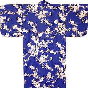 Yukata Robe for Women Sakura and Butterflies Blue
