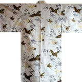 Yukata Robe for Women White with Cranes