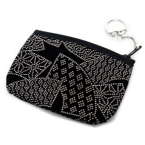 Coin Purse Inden style Black Fan