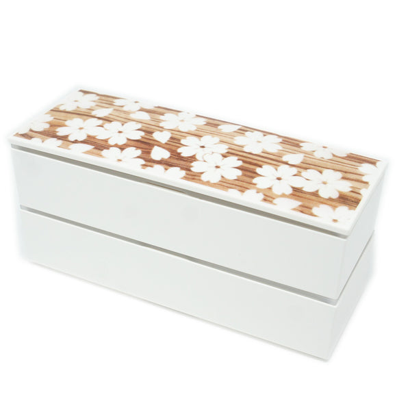 Lunch Box Sakura Mokume White Slim