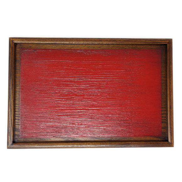 Wooden Tray Rectangle Hakeme Red