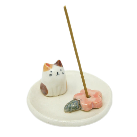 Incense Holder Flower and Cat