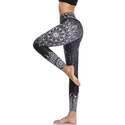 Leggings Yoga Mandala - Noir / S