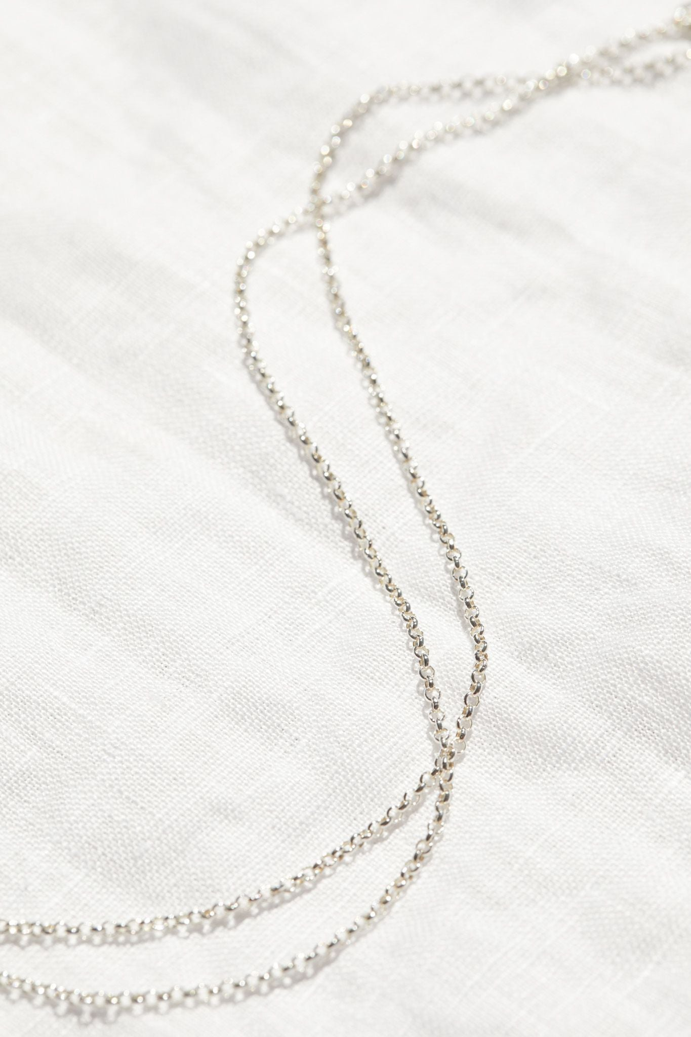9ct White Gold Round Belcher Chain