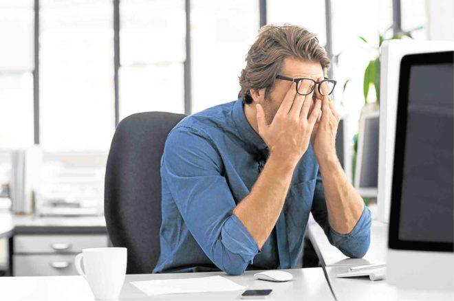 Prolonged computer time can lead to eye strain, headaches