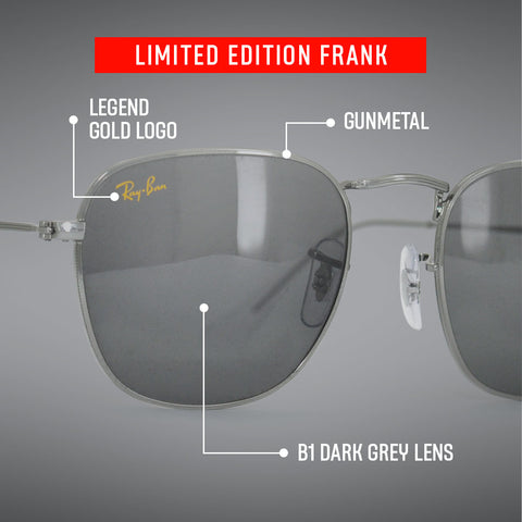 Limited Edition Ray-Ban Frank in Gun Metal with details