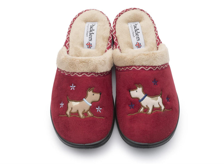 Womens Wide Fit Padders Scotty Slippers