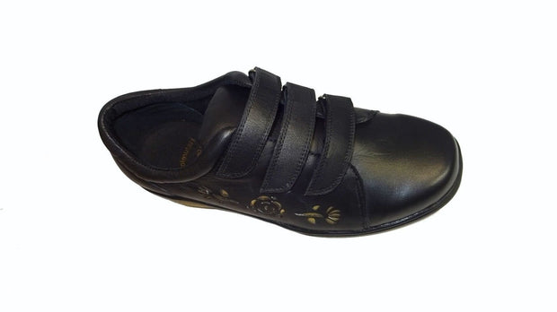 Womens Wide Soft 3 Velcro Strap Shoes