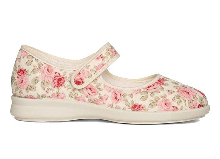 Womens Wide Fit DB Rose Canvas Shoes