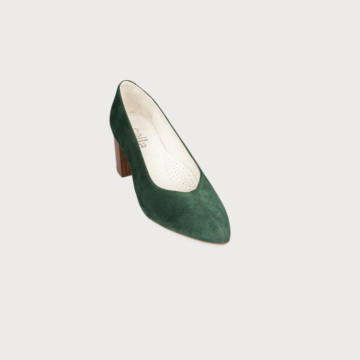 green suede block heel shoes bunions wide feet comfort