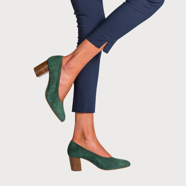 shoes on feet green suede heeled shoes bunions wide feet