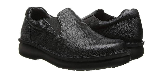 Men's Wide Fit Galway Walker Black Slip-On Leather Shoes