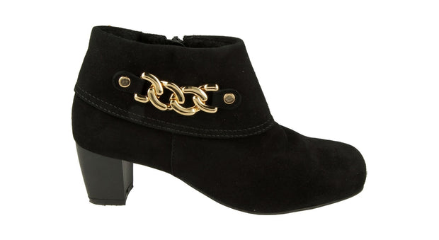 Womens Wide DB Rye Black and Gold Leather Boots