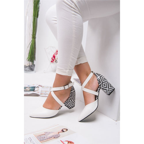 Couture Di Pari Patterned White Heeled Shoes - Couture Di Pari