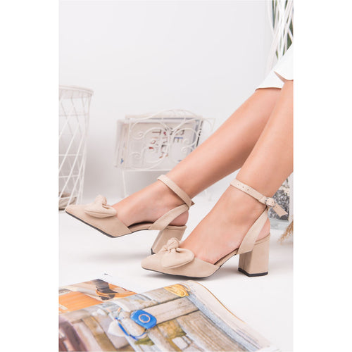 Bow-tie Detail Cream Suede Heeled Shoes - Couture Di Pari